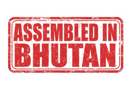 assembled: Assembled in Bhutan grunge rubber stamp on white background, vector illustration Illustration