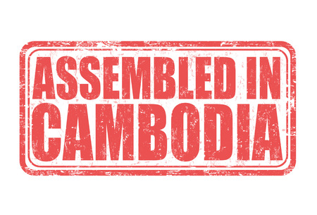 assembled: Assembled in Cambodia grunge rubber stamp on white background, vector illustration