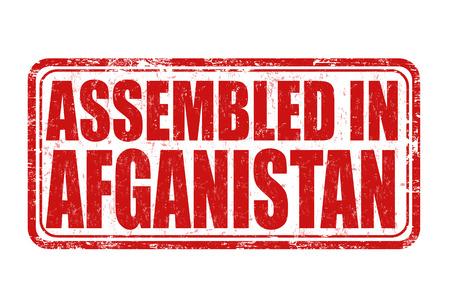assembled: Assembled in Afganistan grunge rubber stamp on white background, vector illustration