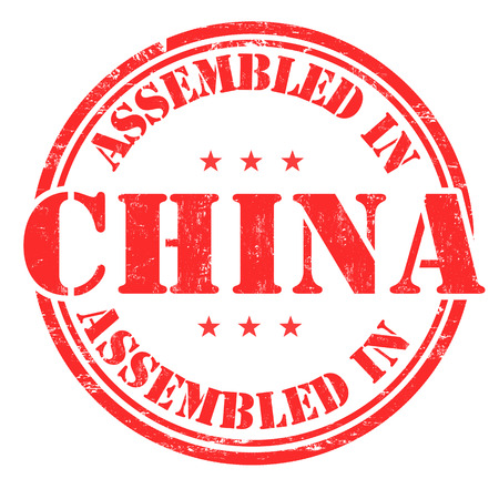 assembled: Assembled in China grunge rubber stamp on white background, vector illustration