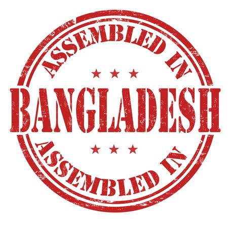 assemble: Assembled in Bangladesh grunge rubber stamp on white background, vector illustration Illustration