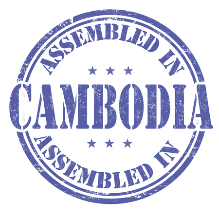 made manufacture manufactured: Assembled in Cambodia grunge rubber stamp on white background, vector illustration