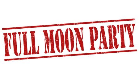 luna: Full moon party grunge rubber stamp on white background, vector illustration Illustration