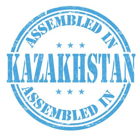 assembled: Assembled in Kazakhstan grunge rubber stamp on white background, vector illustration