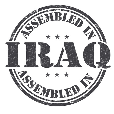 exported: Assembled in Iraq grunge rubber stamp on white background, vector illustration