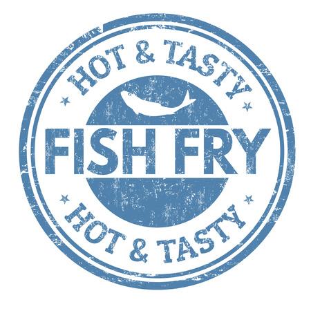 Fish fry grunge rubber stamp on white background, vector illustration Vettoriali