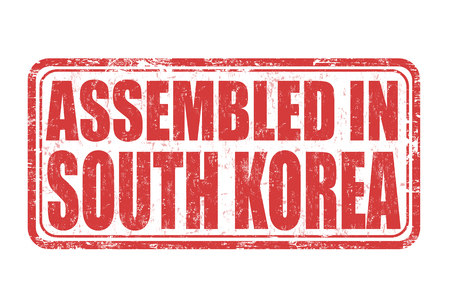 assembled: Assembled in South Korea grunge rubber stamp on white background, vector illustration Illustration