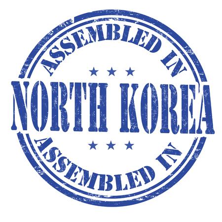 assemble: Assembled in North Korea grunge rubber stamp on white background, vector illustration Illustration