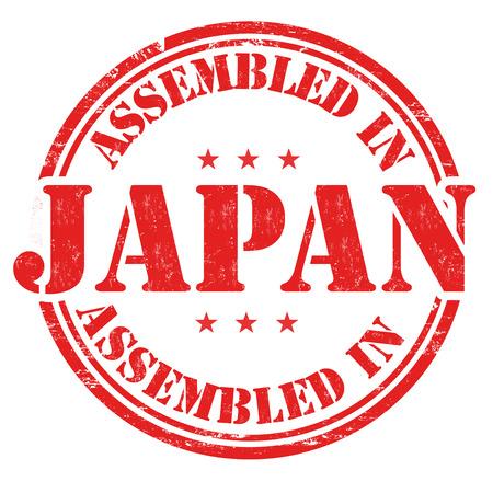assembled: Assembled in Japan grunge rubber stamp on white background, vector illustration