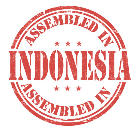 assembled: Assembled in Indonesia grunge rubber stamp on white background, vector illustration