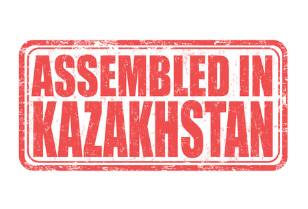 exported: Assembled in Kazakhstan grunge rubber stamp on white background, vector illustration