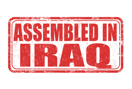 made manufacture manufactured: Assembled in Iraq grunge rubber stamp on white background, vector illustration