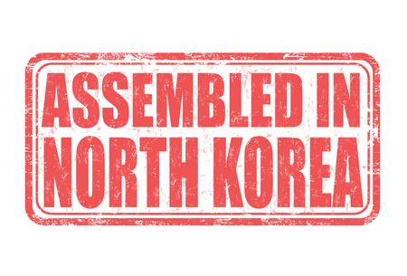 assembled: Assembled in North Korea grunge rubber stamp on white background, vector illustration Illustration