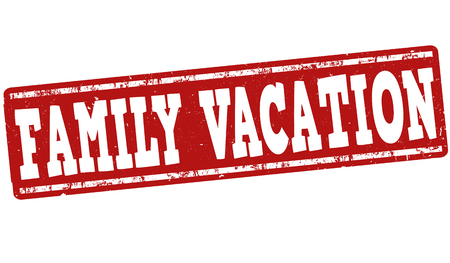 away travel: Family vacation grunge rubber stamp on white background, vector illustration