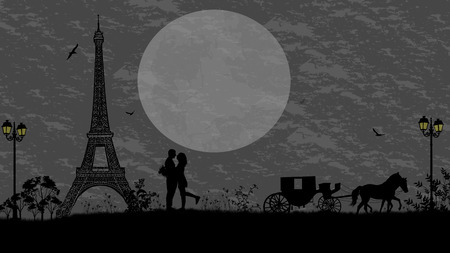 romantic sky: Carriage and lovers in Paris against grey sky, romantic background, vector illustration