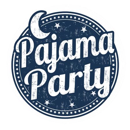 白い背景に、ベクトル図でパジャマ パーティー グランジ ゴム印  イラスト・ベクター素材