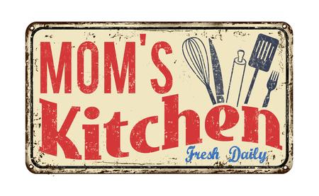 白の背景、ベクトル図サインオン ヴィンテージ錆びた金属にママのキッチン