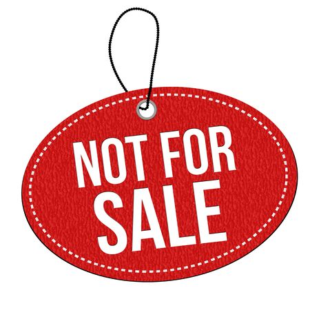 Not for sale red leather label or price tag on white background, vector illustration Иллюстрация