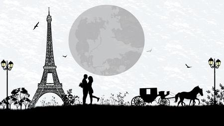 parejas enamoradas: Carro y los amantes en París contra el cielo blanco, fondo romántico, ilustración vectorial
