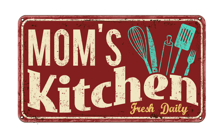 rusty metal: Moms kitchen on vintage rusty metal sign on a white background, vector illustration