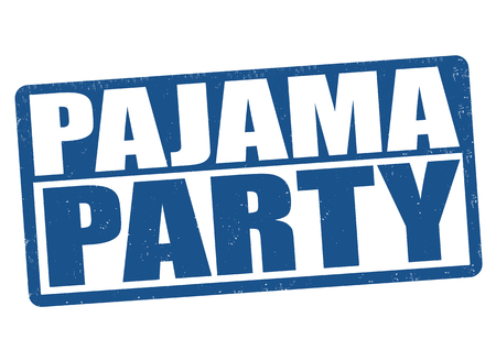 Pajama party grunge rubber stamp on white background, vector illustration