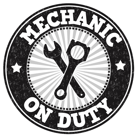 maintenance work: Mechanic on duty grunge rubber stamp on white background, vector illustration