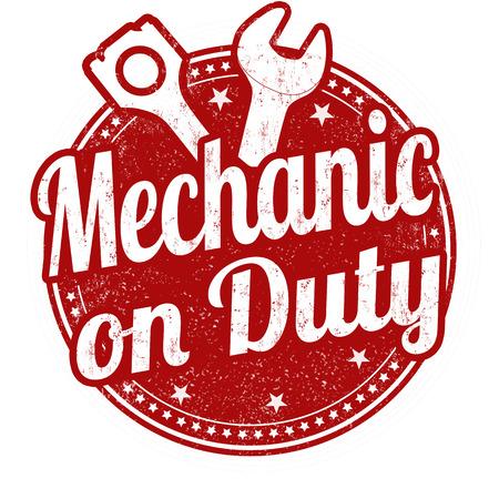 Mecánico en el sello de goma del grunge deber en el fondo blanco, ilustración vectorial Ilustración de vector