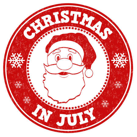 advertised: Christmas in july grunge rubber stamp on white background, vector illustration Illustration