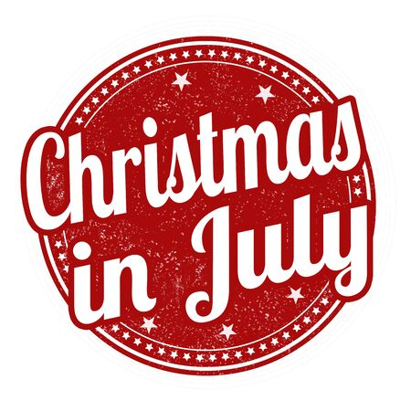 advertised: Christmas in july grunge rubber stamp on white background, vector illustration Illustration