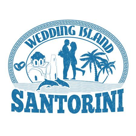 santorini: Wedding Island, Santorini, stamp or label on white background, vector illustration Illustration