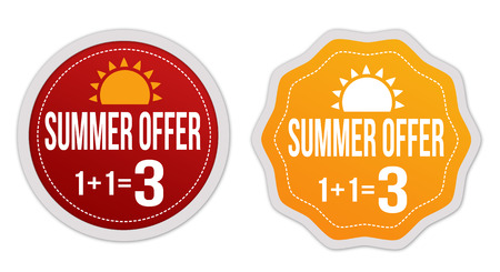 get one: Summer offer buy two get one free stickers or signs on white background, vector illustration Illustration