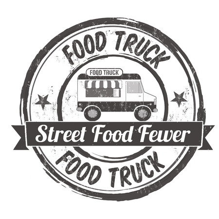 Food truck grunge rubber stamp on white background, vector illustration