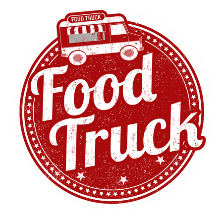 Food truck grunge rubber stamp on white background, vector illustration