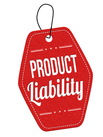 liability: Product liability red leather label or price tag on white background, vector illustration