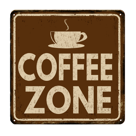 break: Coffee zone vintage rusty metal sign on a white background, vector illustration Illustration