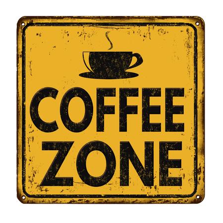 白の背景、ベクトル図にコーヒー ゾーン ヴィンテージさびた金属記号  イラスト・ベクター素材