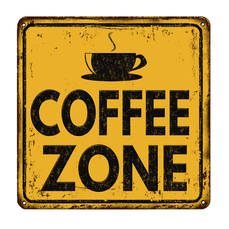 Coffee zone vintage rusty metal sign on a white background, vector illustration Vectores