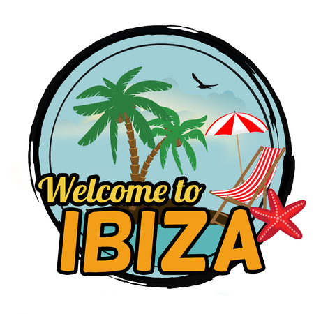 ibiza: Welcome to Ibiza concept in vintage graphic style for t-shirt and other print production on white background, vector illustration