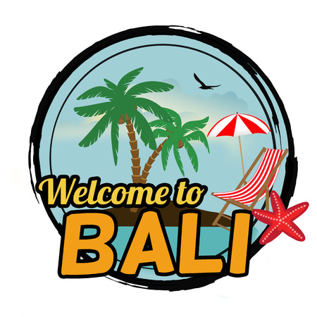 paradise beach: Welcome to Bali concept in vintage graphic style for t-shirt and other print production on white background, vector illustration Illustration