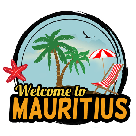 mauritius: Welcome to Mauritius concept in vintage graphic style for t-shirt and other print production on white background, vector illustration