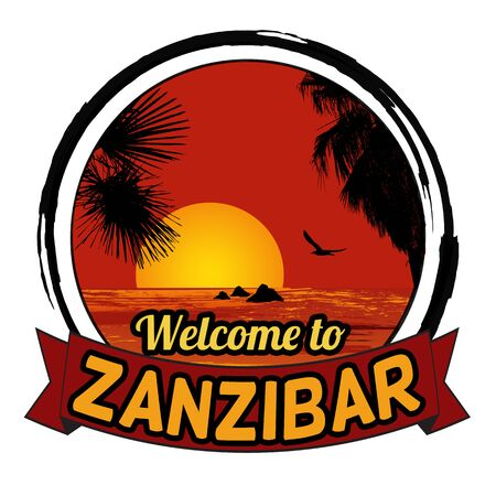 tittle: Welcome to Zanzibar concept in vintage graphic style for t-shirt and other print production on white background, vector illustration
