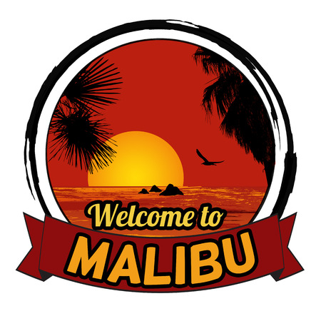 malibu: Welcome to Malibu concept in vintage graphic style for t-shirt and other print production on white background, vector illustration Illustration