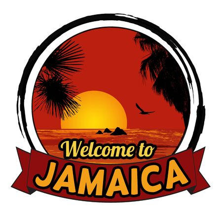 tittle: Welcome to Jamaica concept in vintage graphic style for t-shirt and other print production on white background, vector illustration Illustration