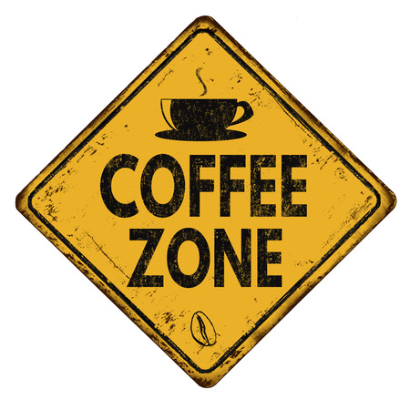 sign road: Coffee zone vintage rusty yellow road sign on a white background, vector illustration
