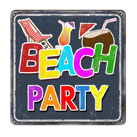 metal sign: Beach party on dark vintage rusty metal sign on a white background, vector illustration