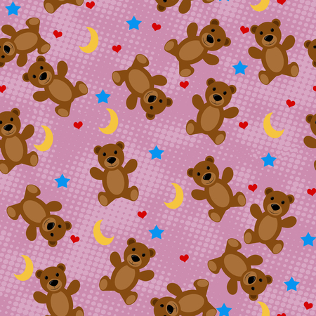 lila: Teddy bears seamless pattern with moon, stars and hearts on lila background, vector illustration Illustration