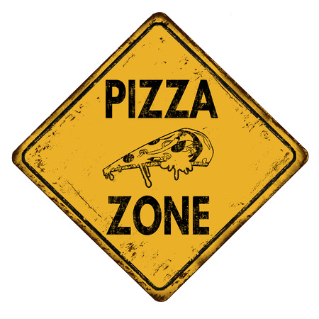 rusty metal: Pizza zone vintage rusty metal road sign on a white background, vector illustration Illustration
