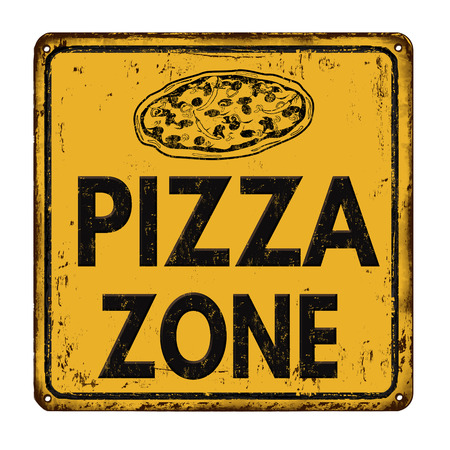 rusty metal: Pizza zone vintage rusty metal sign on a white background, vector illustration