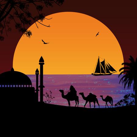 convoy: Camel caravan at red sunset on the beach, vector illustration Illustration
