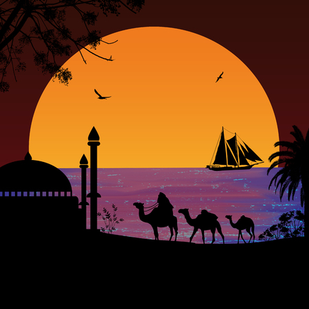 Camel caravan at red sunset on the beach, vector illustration Illustration